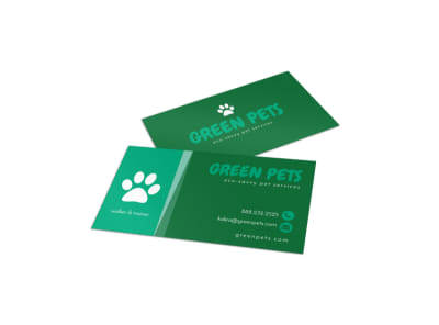 Green Pet Sitting Business Card Template preview