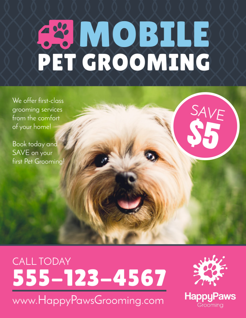 Mobile Pet Grooming Flyer Template Preview 2