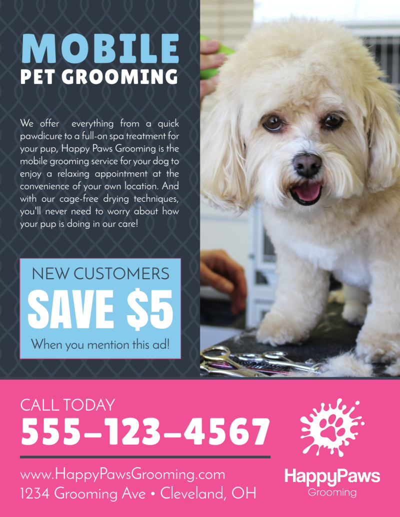 Mobile Pet Grooming Flyer Template Preview 3