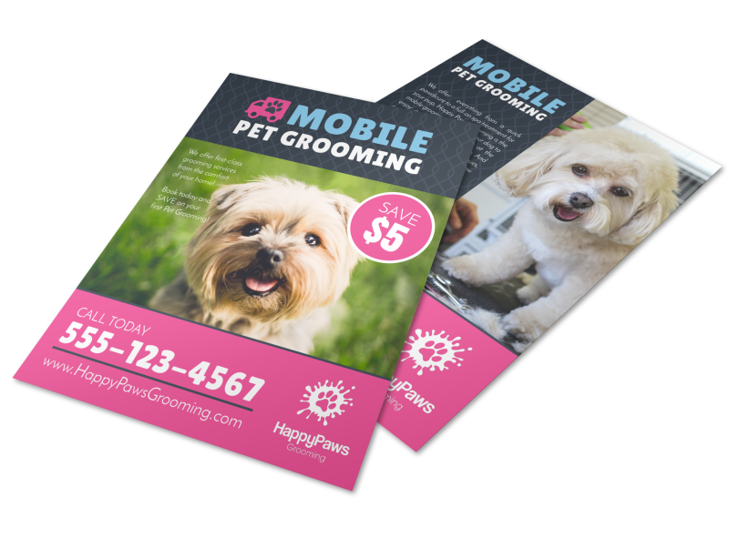 Mobile Pet Grooming Flyer Template Preview 1
