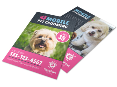 Mobile Pet Grooming Flyer Template preview