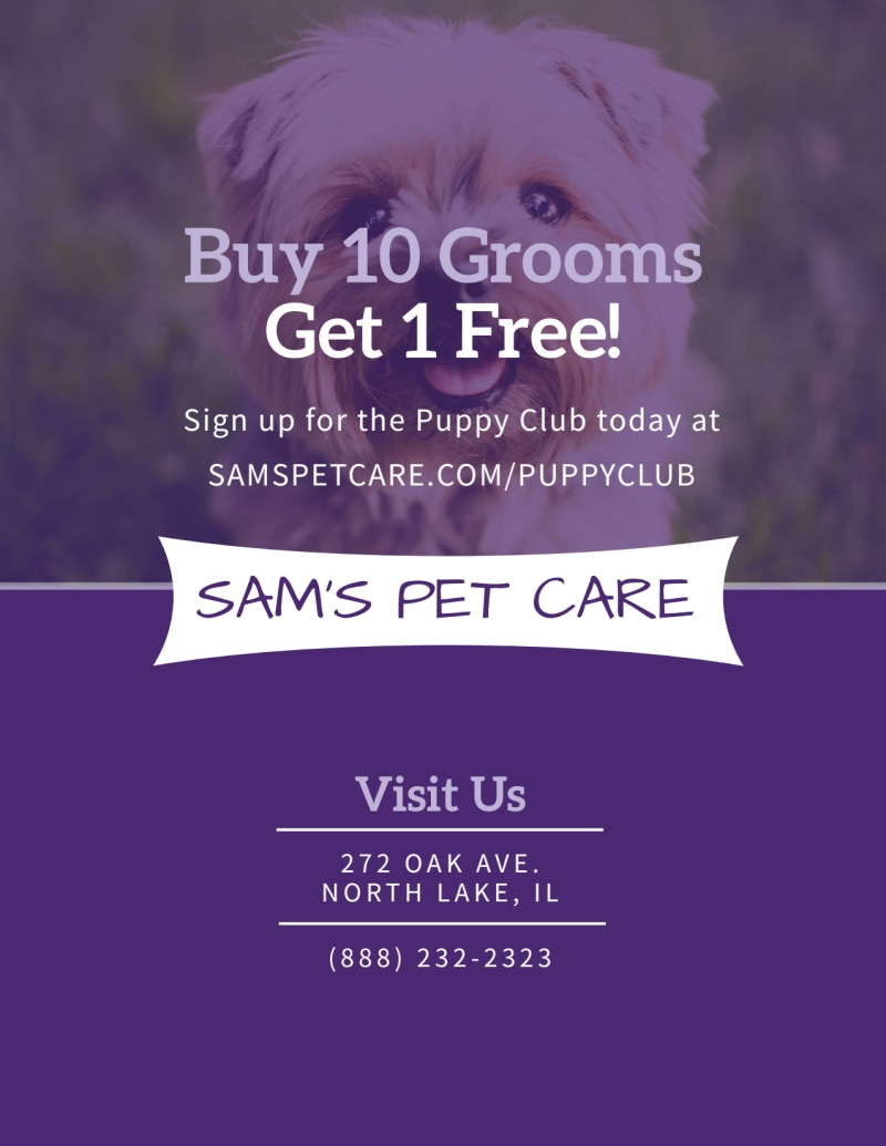 Pet Grooming Sale Flyer Template Preview 3