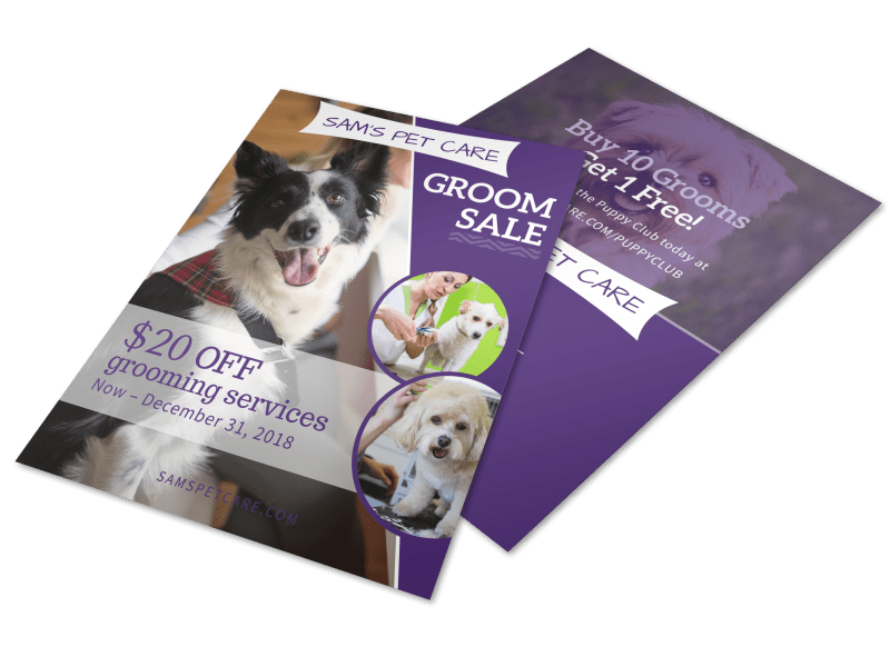 Pet Grooming Sale Flyer Template Preview 1