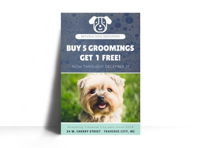 Bayview Pet Grooming Poster Template preview