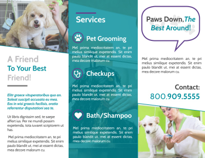 Pet Grooming Tri-Fold Brochure Template Preview 2