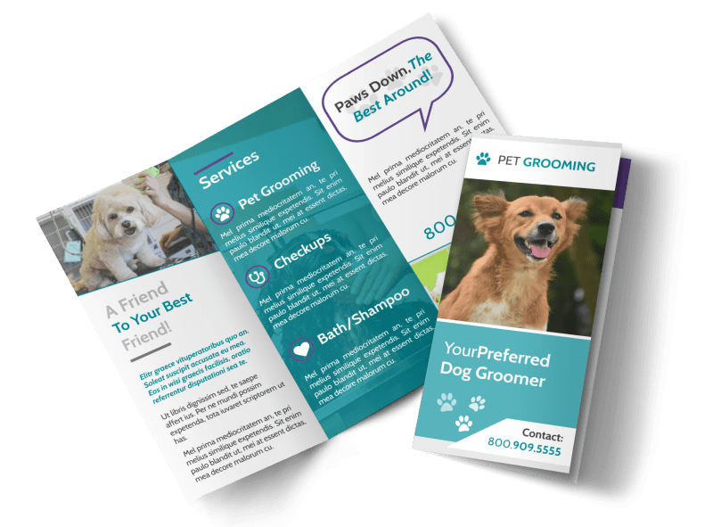 Pet Grooming Tri-Fold Brochure Template Preview 1