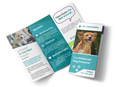 Pet Grooming Tri-Fold Brochure Template preview