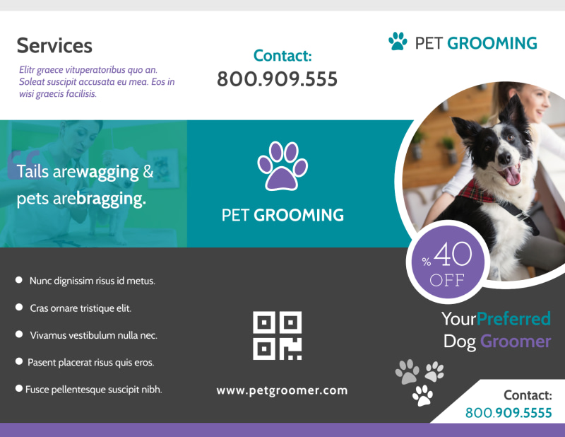 Clean Pet Grooming Tri-Fold Brochure Template Preview 2