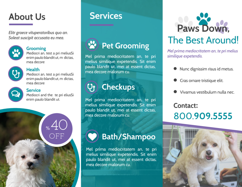 Clean Pet Grooming Tri-Fold Brochure Template Preview 3