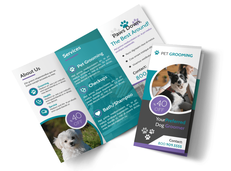 Clean Pet Grooming Tri-Fold Brochure Template Preview 1