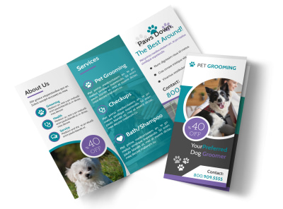 Clean Pet Grooming Tri-Fold Brochure Template preview