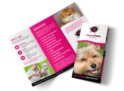 Fun Pet Grooming Tri-Fold Brochure Template preview