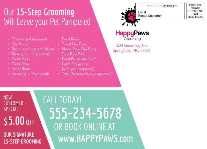Pet Grooming EDDM Postcard Template Preview 3