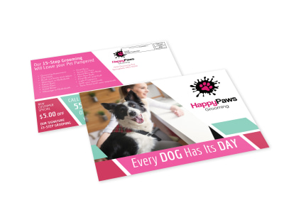 Pet Grooming EDDM Postcard Template preview