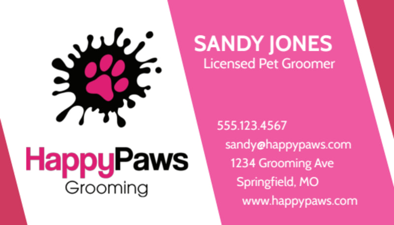 HappyPaws Pet Grooming Business Card Template Preview 2