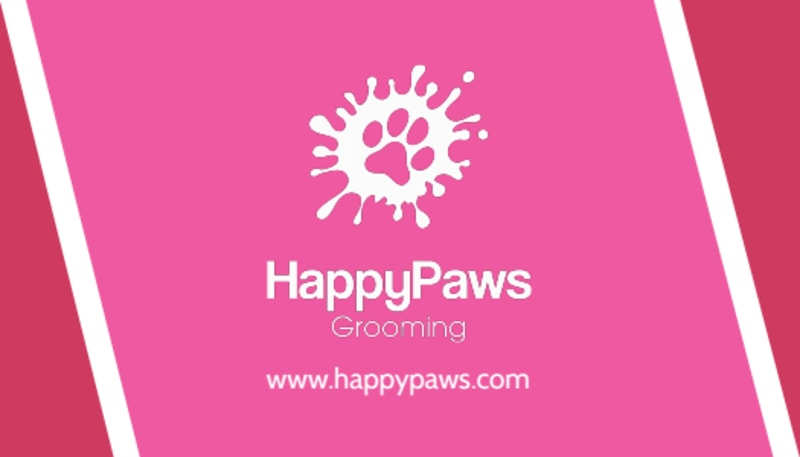 HappyPaws Pet Grooming Business Card Template Preview 3