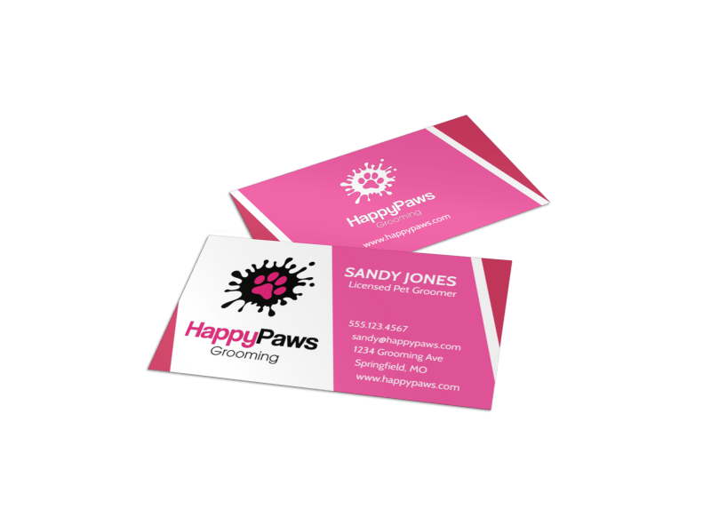 HappyPaws Pet Grooming Business Card Template Preview 1