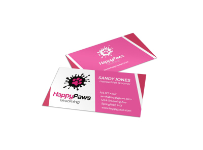 HappyPaws Pet Grooming Business Card Template preview