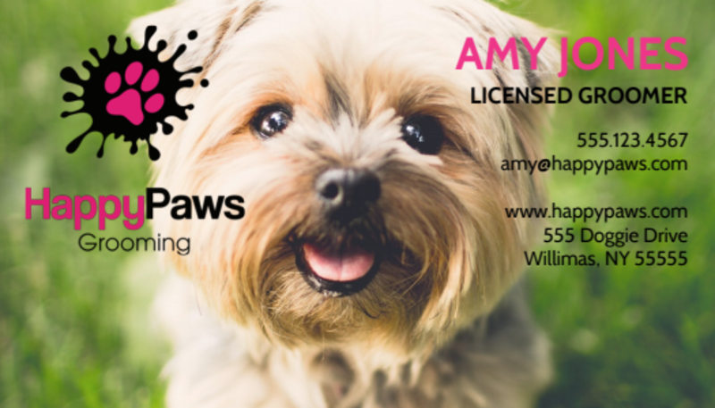Pet Grooming Service Business Card Template Preview 2