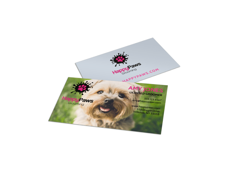 Pet Grooming Service Business Card Template Preview 1