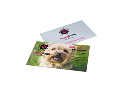 Pet Grooming Service Business Card Template preview