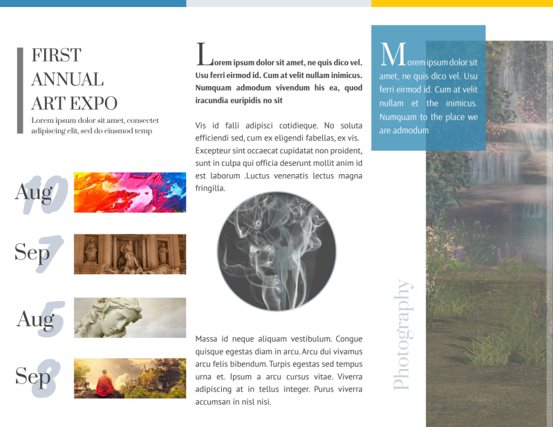 Art Show Tri-Fold Brochure Template Preview 3