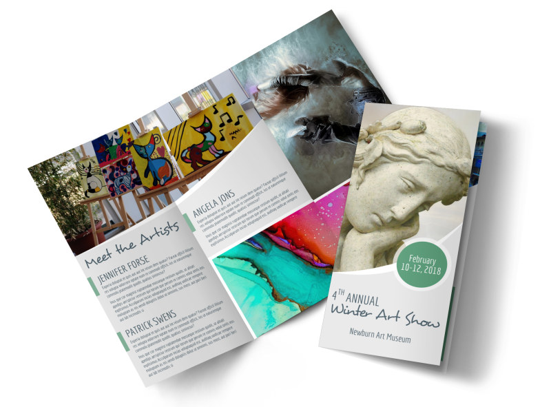 Winter Art Show Tri-Fold Brochure Template Preview 4