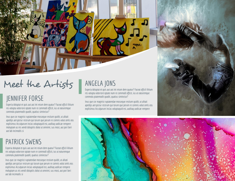 Winter Art Show Tri-Fold Brochure Template Preview 3
