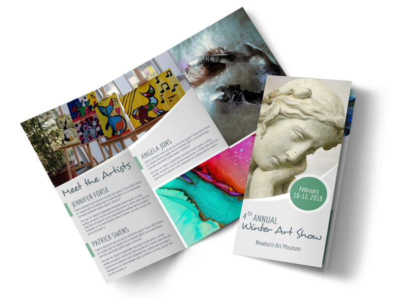 Winter Art Show Tri-Fold Brochure Template Preview 1