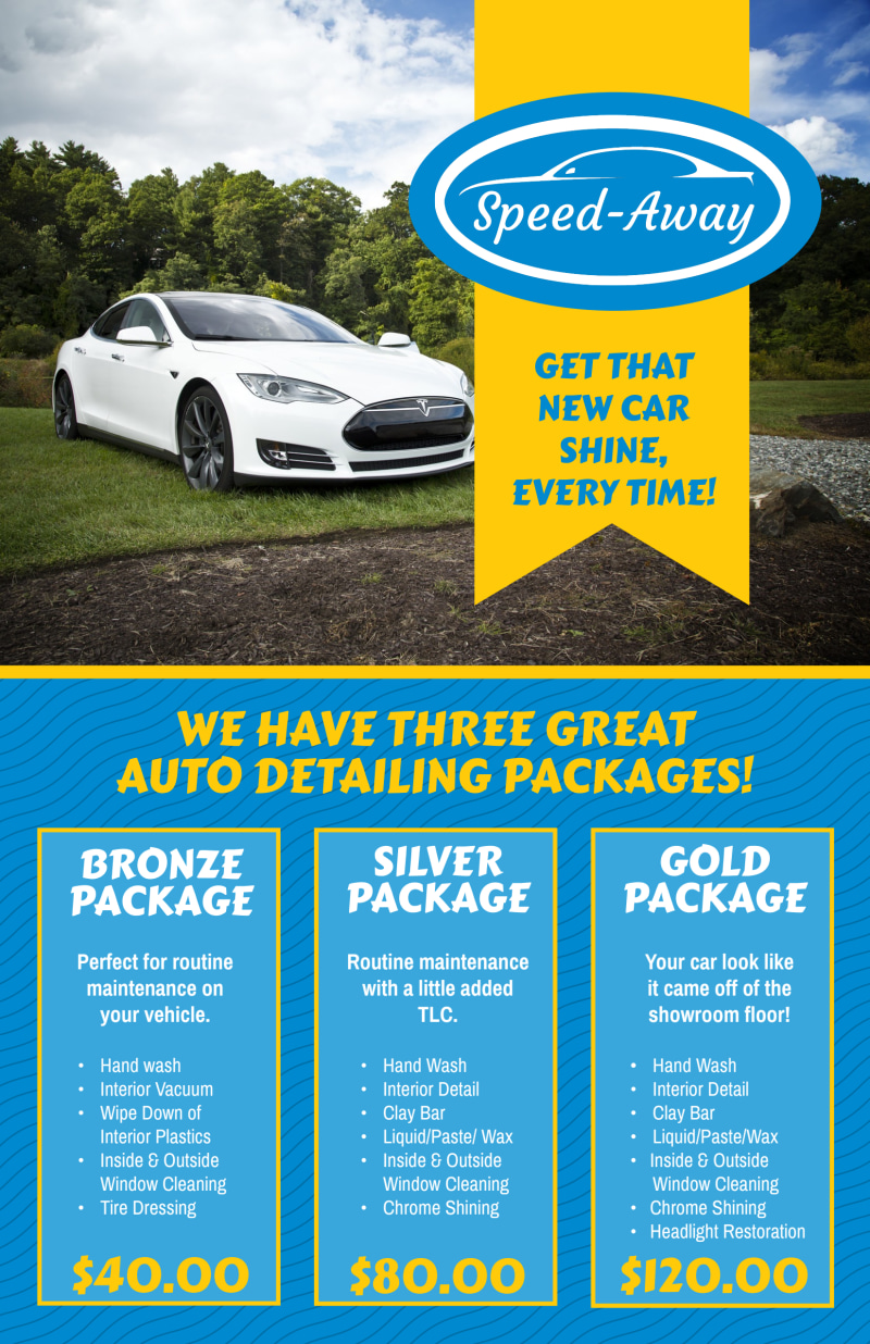 Auto Detailing Packages Poster Template Preview 2