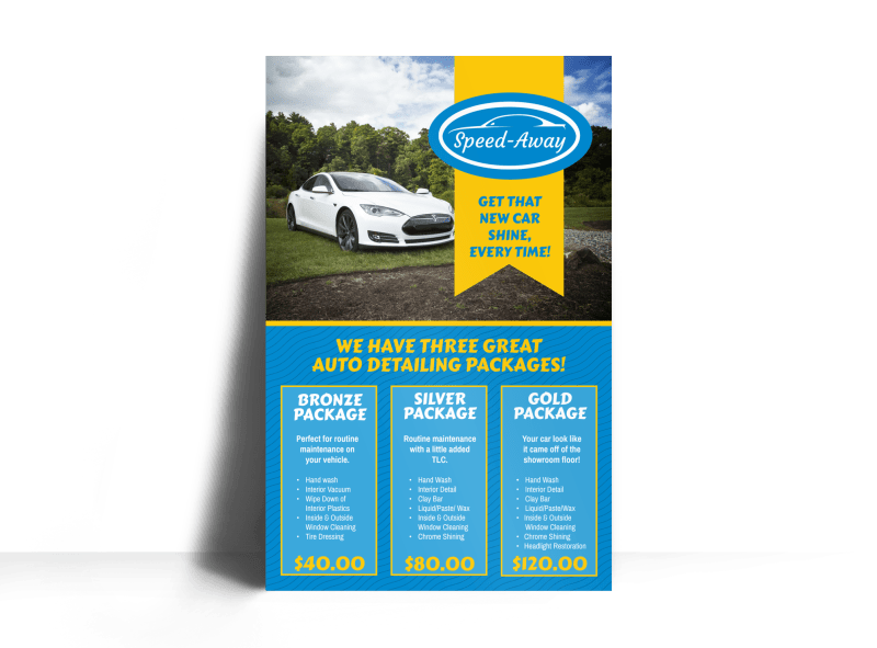 Auto Detailing Packages Poster Template Preview 1