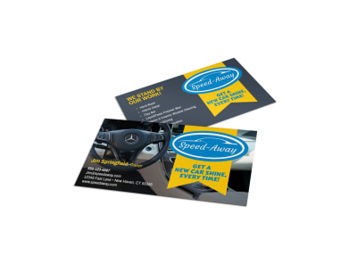 Speed-Away Auto Detailing Business Card Template preview