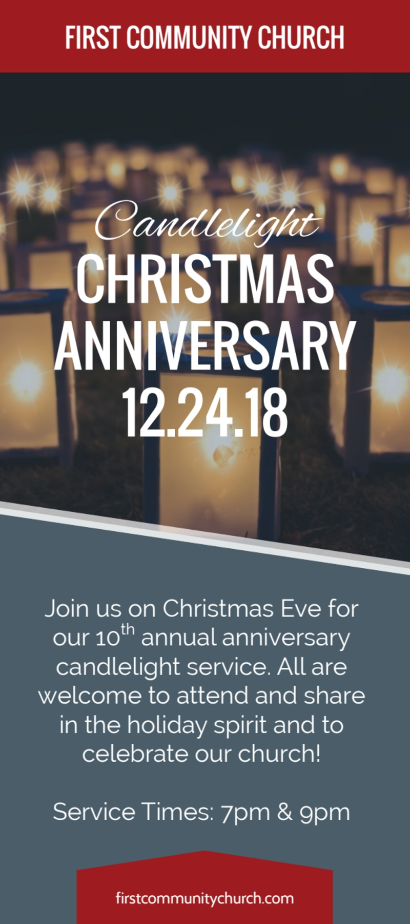 Church Christmas Anniversary Flyer Template Preview 2