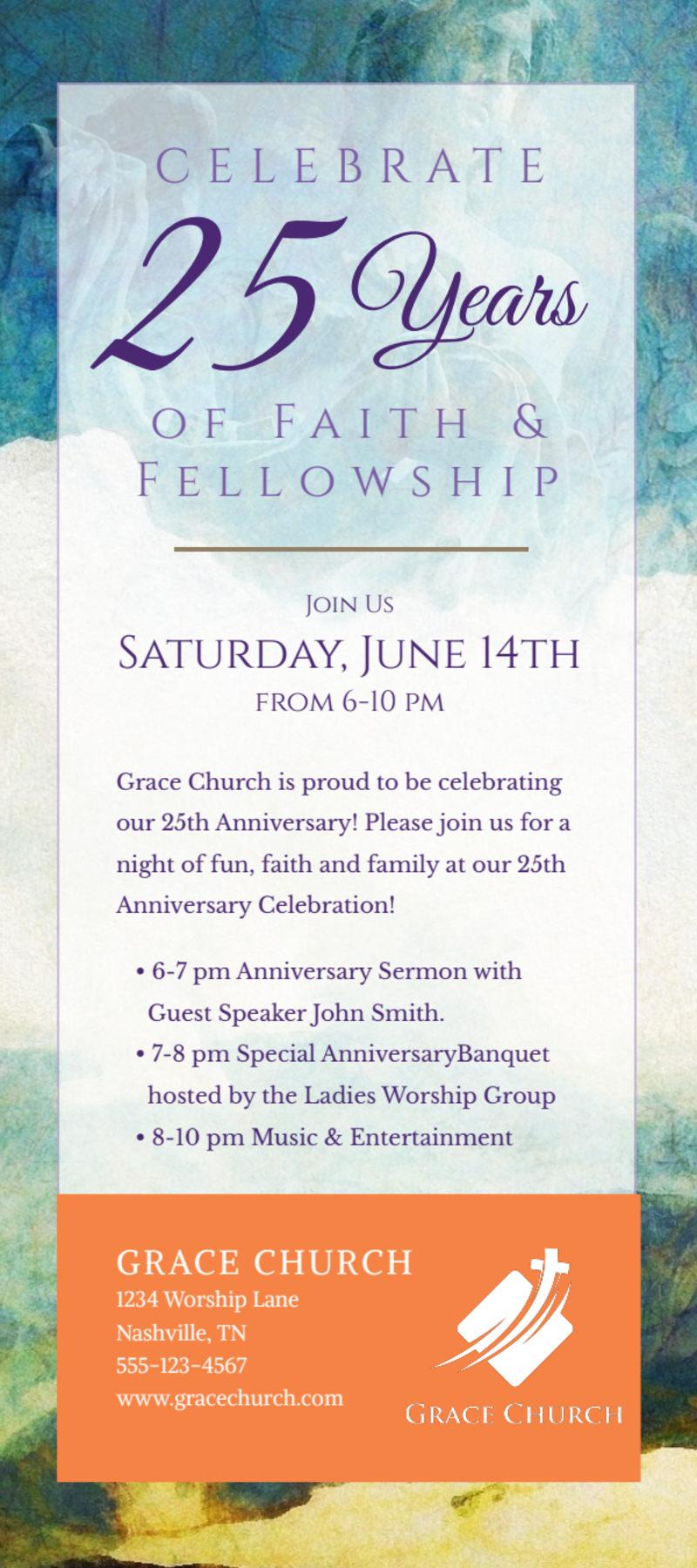 Fun Church Anniversary Flyer Template Preview 2