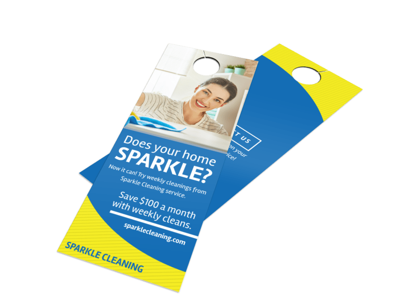 Sparkle Cleaning Service Door Hanger Template Preview 1