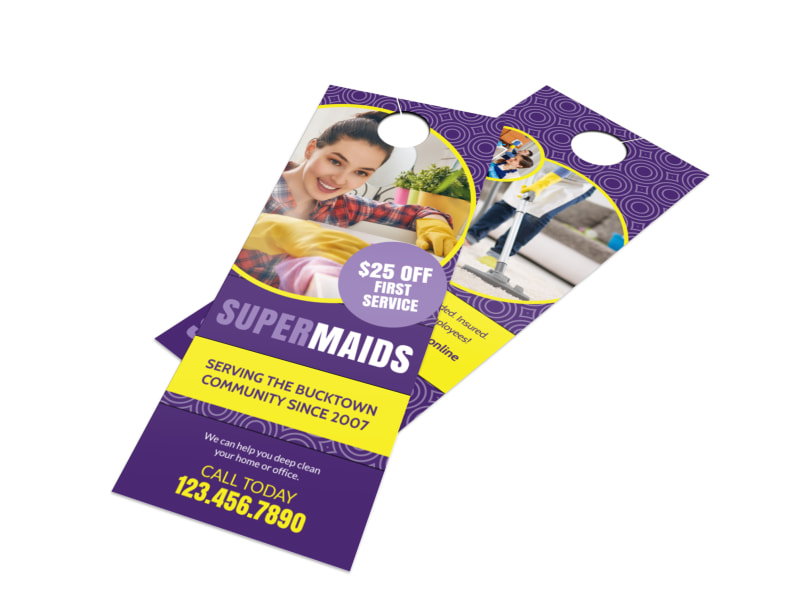 Cleaning Super Maids Door Hanger Template