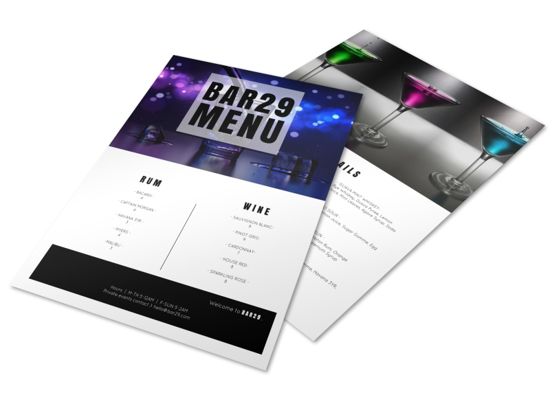Classic Bar Menu Template