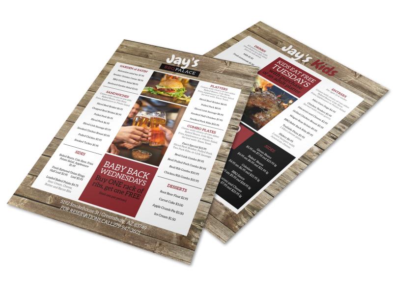 Wood BBQ Menu Template