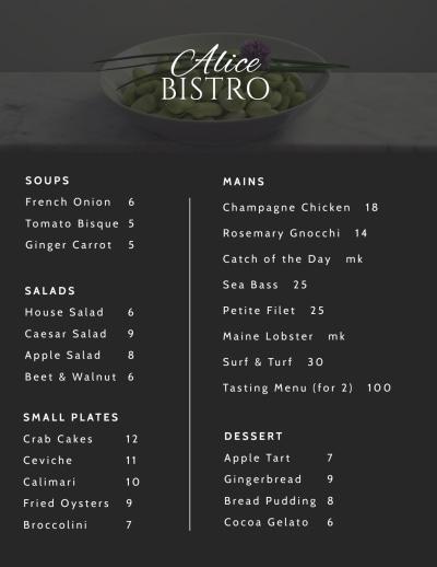 Cafe Bistro Menu Template Preview 1