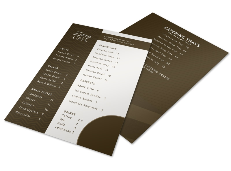 Zebra Cafe Menu Template