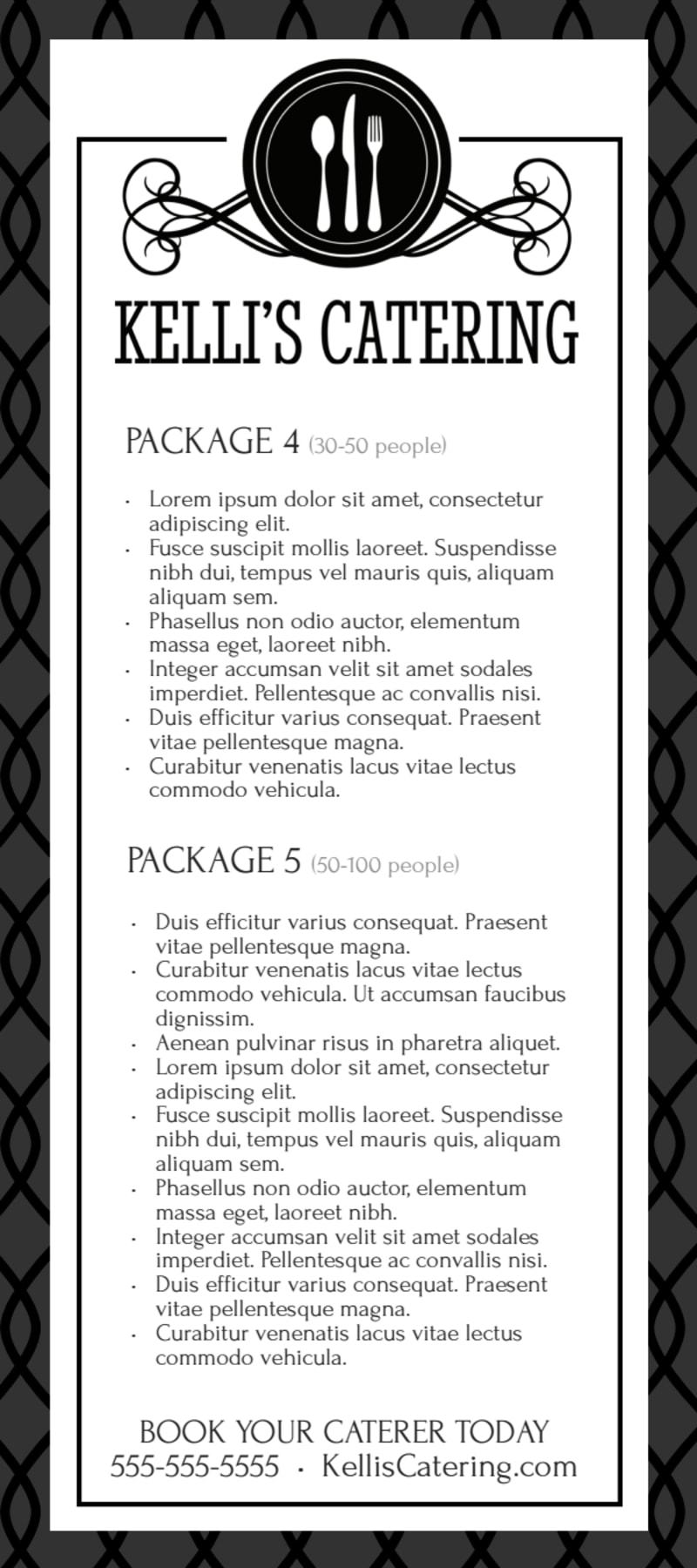 elegant catering menu template
