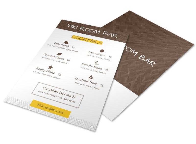 Tiki Room Cocktail Menu Template