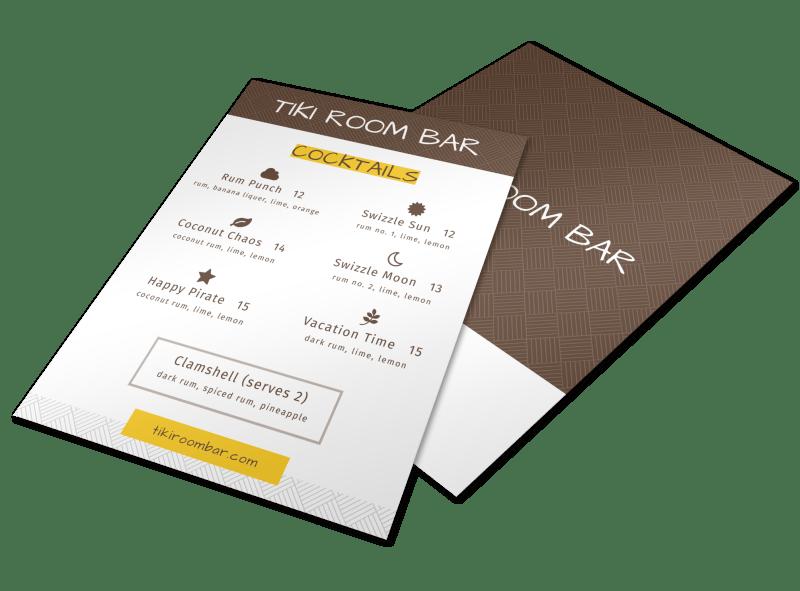 Tiki Room Cocktail Menu Template Preview 1