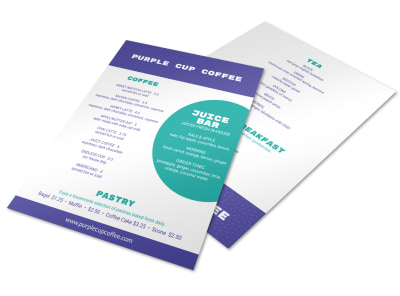 Purple Coffee Shop Menu Template