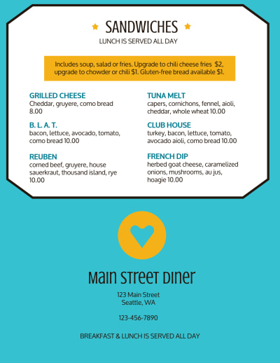 Classic Diner Menu Template Preview 2