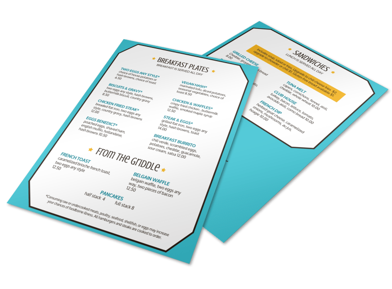Classic Diner Menu Template Preview 1