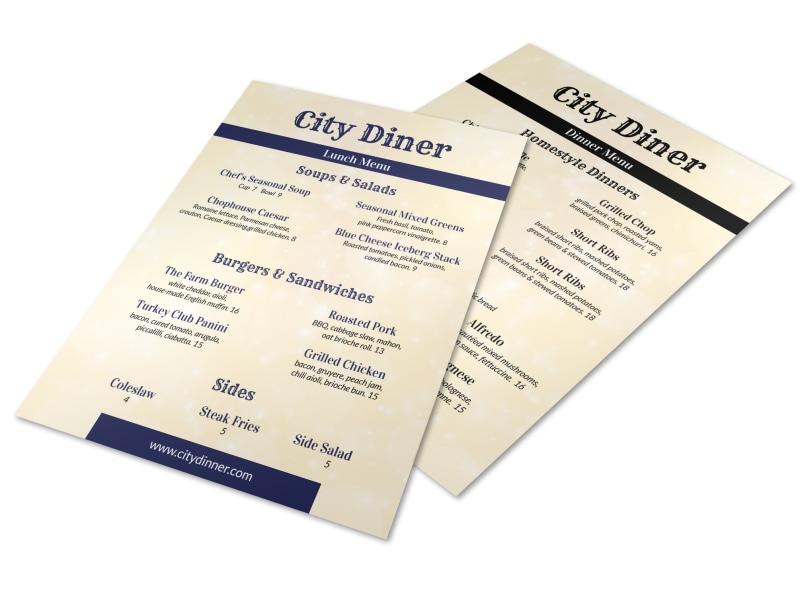 City Diner Menu Template