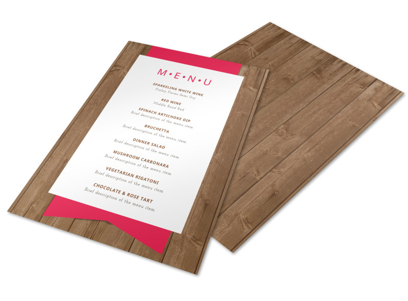 Simple Dinner Party Menu Template  Mycreativeshop