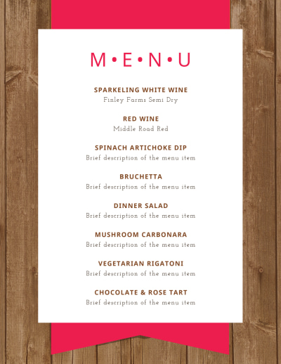 Simple Dinner Party Menu Template Preview 1