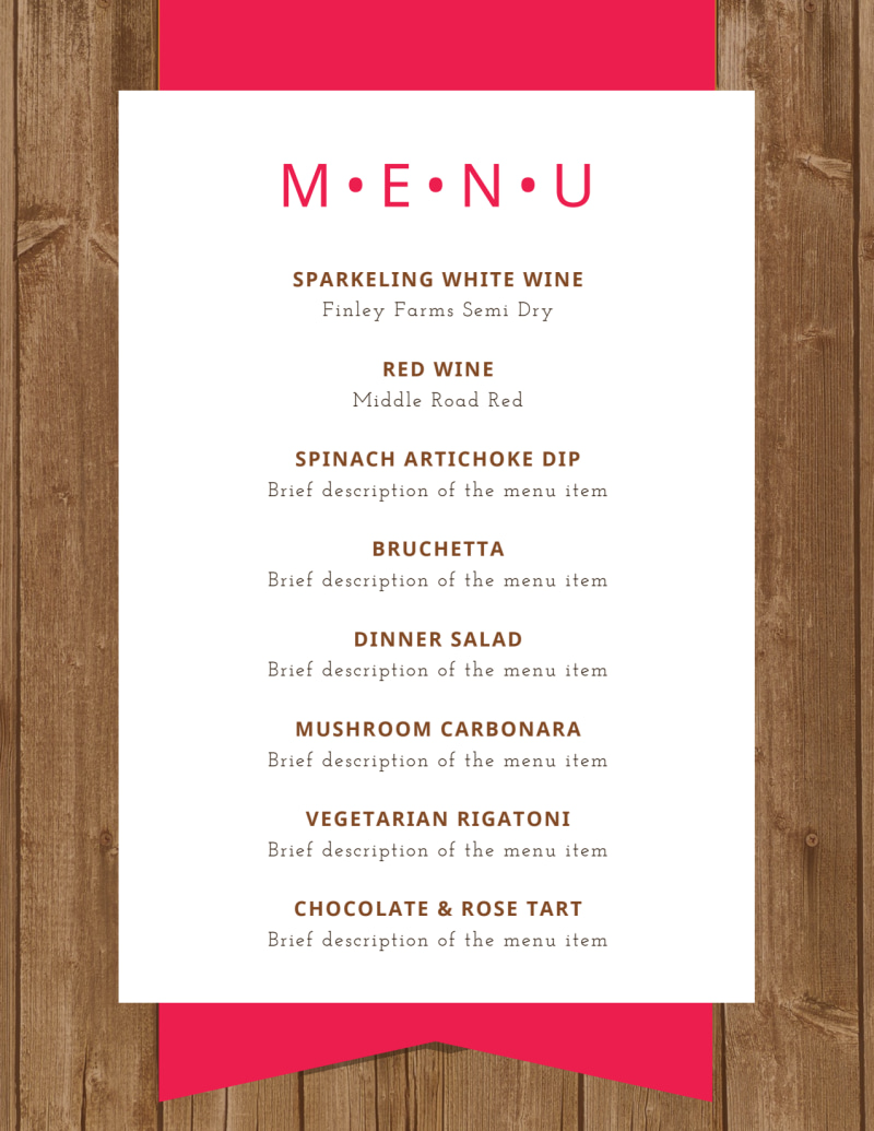 Simple Dinner Party Menu Template Preview 2
